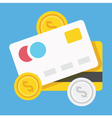 Credit cards and coins icon vector