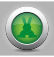 Green metal button with back easter bunny vector