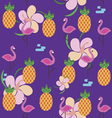 Summer seamless pattern with flamingo pineapples vector