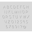 Thin light alphabet with shadow vector