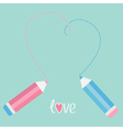 Two pencils drawing big dash heart love card vector