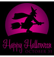 Witch rising moon halloween card in format vector