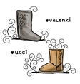 Felt boots and uggi sketch for your design vector
