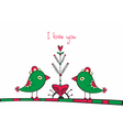 Card with birds and love tree on white background vector
