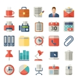 Office and business flat icons for web mobile vector