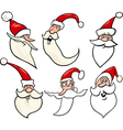 Happy santa claus cartoon faces icons set vector