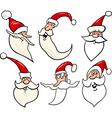 Happy santa claus cartoon faces icons set vector