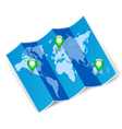 World map with gps marks vector