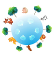 A representation of the earth with animals and vector