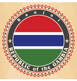 Vintage label cards of gambia flag vector