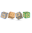 Word word written with alphabet blocks vector
