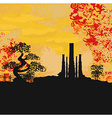 Smoking factory with tree at sunset or sunrise vector