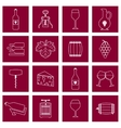 Wine icons set outline vector