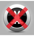 No white back easter bunny - metal button vector