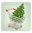 Christmas tree in a shopping cart vector