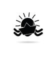 Sun icon with paper boat black vector