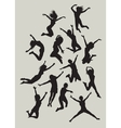 Girl jumping silhouettes vector