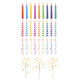 Set of celebration candles and sparklers vector