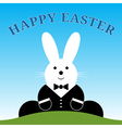 Sitting smiling easter bunny with suit and text vector