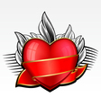Valentine day heart with red ribbon and leaves on vector