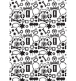 Seamless icons pattern bw vector