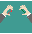 Businessman hands holding question and exclamation vector