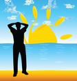 Man on the beach silhouette vector