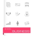 Black business icons set vector