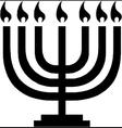 Hanukkah menorah with candles vector