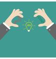 Businessman hands holding contour idea light bulb vector