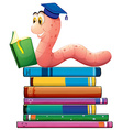 Book and worm vector