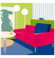Interior floor-lamp sofa vector