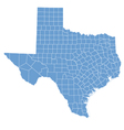 State map of texas by counties vector