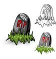 Halloween monsters isolated spooky tombstones set vector