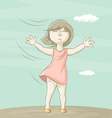 Girl and wind vector