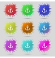 Anchor icon set colourful buttons sign vector