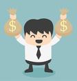 Businessman holds bags money vector