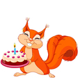 Squirrel holding cake vector