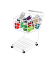 Colorful soda cans in a shopping cart vector