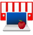 Laptop red apple and binders vector