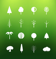 White tree icons clip-art on color background vector