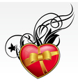 Red heart with bow and ribbon for valentines day vector