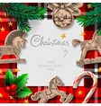 Merry christmas template with rocking toys and vector