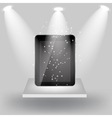 Abstract design tablet on white shelves on light vector