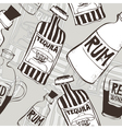 Seamless background with bottles vector