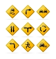 Yellow road traffic signs set vector
