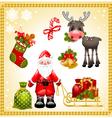 Christmas set with santa claus vector