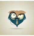 Cute little blue and grey cartoon hipster owl vector