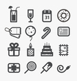 Different holiday icons set with rounded corners vector