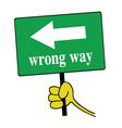 Wrong way signboard green vector